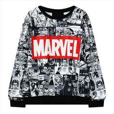 2015 Marvel Cartoon Harajuku Ladies' pullovers Sweatshirts Casual long Sleeve shirts brand Women Jumper