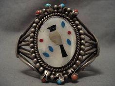 Huge Vintage Zuni Mosaic Bird Turquoise Silver Bracelet