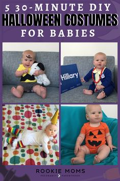 Behold 5 easy-peasy DIY baby Halloween costumes. #halloween #halloweencostumes #lastminute #DIY #tricksortreats #costumeideas #easycostumes #babyhalloween #babycostumes #DIYhalloweencostumes #easyDIY