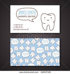 Medical business or visiting cards for dentist. Vector illustration. Children dentistry and orthodontics. Cute vector characters.