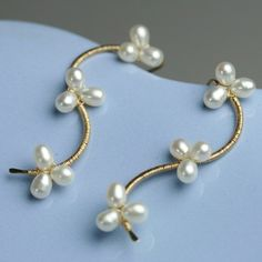 Pearl Vine Earrings White Pearls Gold Fill Wire Wrapped