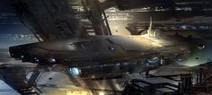 Capital ship inside structure.