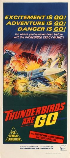 Thunderbirds Are Go Supermarionation 1966 - original vintage movie poster for the Australian release of the British science fiction adventure film Thunderbirds Are Go listed on AntikBar.co.uk