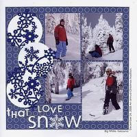 Snow Layout...  love the navy snowflakes
