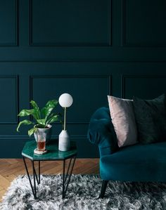 inspiration with inky, teal walls and deep blue velver sofa contrasted with blush pink cushion.Step inside the South West London Home of Sommer Pyne to see more interior inspiration. Teal Living Rooms, Living Room Decor, Bedroom Decor, Dark Blue Walls, Teal Walls, Murs Turquoise, Teal Sofa, Living Room Lighting, Room Lights