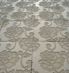 cement tiles | teejay's backsplash: lace embossed concrete tiles