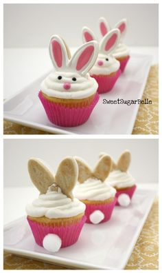 Easter bunny cupcakes - Makayla would love to decorate these! If she doesn't eat all the cookies and icing first!