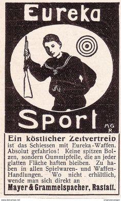 Original-Werbung/ Anzeige 1902 - EUREKA GUMMIPFEIL - GEWEHR / MAYER & GRAMMELSPACHER RASTATT - Ca. 45 X 75  Mm - Werbung