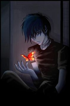 Nico di Angelo with a gift from Hestia, anime style. (not sure what I think . . . me thinks me likes)