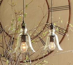 Rustic glass pendant from Pottery Barn $99 for kitchen table