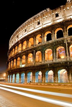 Colosseum (Roma, Italy) one of the most beautiful sights ever..at night it is perfection! Love Rome!