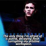 The only thing I'm afraid of is putrid, decaying flesh corrupting my pristine workspace. || Leo Fitz || AOS 1x06 FZZT || 160px × 160px || #quotes #animated