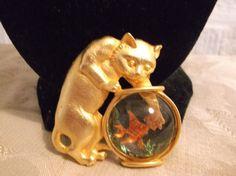 VTG. JJ JONETTE ENAMEL & GOLD TONE KITTY CAT REACHING IN A FISH BOWL BROOCH~ #JJJonette