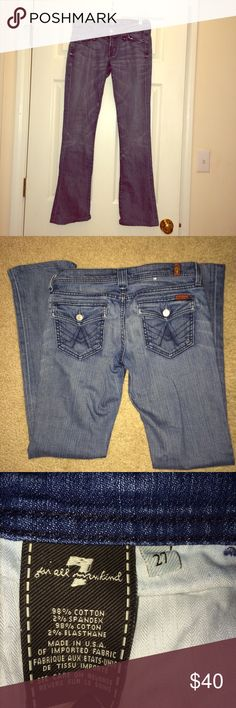"""7 for all Mankind Rocker jeans 7 for all mankind boot cut jeans. the style is called """"rocker."""" these are in excellent condition, only worn a handful of times. very soft light colored denim with front and back pockets. back pockets button to close. front of the jeans have zipper and button to fasten. they give a great fit with a little stretch (98% cotton, 2% spandex) NO TRADES 7 for all Mankind Jeans Boot Cut"""