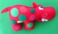 Hippo plush baby rattle by Ecotrinkets - Amy Monthei