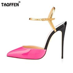 (49.97$)  Know more - http://aiov2.worlditems.win/all/product.php?id=32673840094 - Women Patent Leather High Heel Sandals Pointed Toe Heels Sandalias Lady Candy Color Party Wedding Shoes Footwear Size 35-46 B257