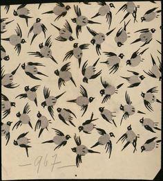Centre de documentation des musées. Les Arts Décoratifs. Etude pour tissus, à motif d'hirondelles dessin. Suzanne Lalique-Haviland.1920. (1899-1989).