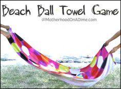 Beach Games: Beach ball towel game (bounce, pass, sub a water balloon) Hawaiian Party Games, Beach Party Games, Adult Party Games, Adult Games, Luau Games, Abc Games, Youth Games, Sleepover Party, Beach Ball Games