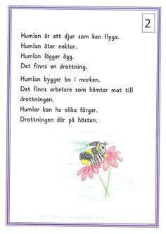 humlan2-page-0 Learn Swedish, Swedish Language, Free Printables, Activities For Kids, Teaching, Writing, Education, Math, School Ideas