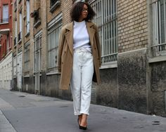 ALL WHITE AND CAMEL VINTAGE COAT