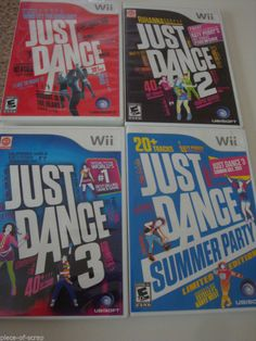 Lot of 4 JUST DANCE Wii Games Nintendo Game 1 2 3 Summer Party Case Instructions