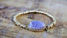 Gold Beads Bracelet Agate Druzy Bracelet Purple Druzy