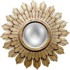 """Universal Lighting and Decor Sabina Gold Leaf 30 1/2"""" Round Sunburst... ($378) ❤ liked on Polyvore featuring home, home decor, mirrors, wall art, burst, decor, universal lighting and decor, round sunburst wall mirror, circular mirrors and sunburst wall mirror"""