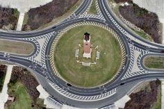 Aerial views of Nassau County taken April Pictured here: Jones Beach Water Tower Monument, Wantagh, the infamous traffic circle, an extreme construct to avoid using traffic lights. Fire Island, Long Island, Montauk Lighthouse, Jones Beach, Nassau County, Sea To Shining Sea, I Love Ny, Traffic Light, April 19