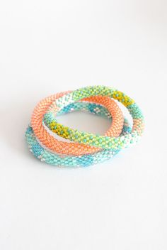 Orange Green & Blue Lily and Laura bracelets