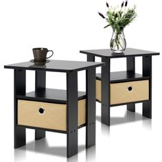 Espresso Bedroom Furniture Sets, 2-Set End Table/ Night Stand by Furinno