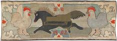 "Dated 1902, this American hooked rug carries the initials ""SG,"" features a galoping horse flanked by chickens and measures 24 inches by 66 inches. Even with condition issues – including several tears, fading, surface dirt and a large patch – the rug earned $3,200 at Pook & Pook April 20, 2012, in Downingtown, Pa."