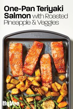 Teriyaki Salmon with Roasted Pineapple and Veggies - - Our sheet pan salmon dinner only uses one dish and contains healthy fats, proteins, and a bunch of vegetables for a well-rounded family-friendly dinner. Fish Recipes, Seafood Recipes, New Recipes, Dinner Recipes, Cooking Recipes, Favorite Recipes, Healthy Recipes, Cooking Food, Dining