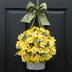 Door Wreath   Spring Wreath  Yellow Wreath by EverBloomingOriginal, enter to win one of these beautiful wreaths at www.inspiredbycharm.com