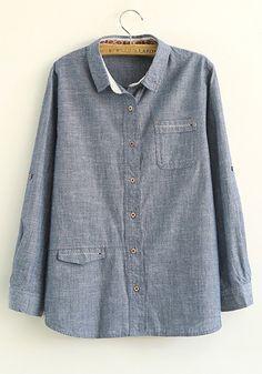 Blue Plain V-neck Flax Blend Long Sleeve Blouse