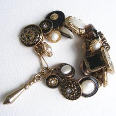 Upcycled vintage buttons charm bracelet. $30.00, via Etsy.