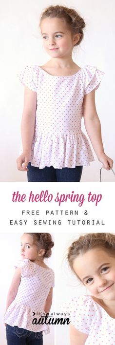 """hello spring"" girls' top So cute! Free printable PDF pattern for this easy to sew girls' dress or top, plus a great step by step photo tutorial. Pattern comes in girls size Easy may refer to: Sewing Kids Clothes, Sewing For Kids, Baby Sewing, Free Sewing, Sewing Pants, Doll Clothes, Sewing Coat, Sewing Patterns Girls, Kids Patterns"