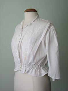 10s 20s blouse / cotton floral peplum waist sheer top shirt (m - l).