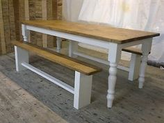 Handmade 7ft Reclaimed Pine Table and Benches French Farmhouse F Shabby Chic | eBay