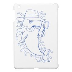 Detective Orca Killer Whale Drawing iPad Mini Cover - drawing sketch design graphic draw personalize