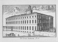 """Palazzo Dugnani, via Manin. Marc'Antonio Dal Re, """"Vedute di Milano"""", incisione 85 (ca. 1745)."""