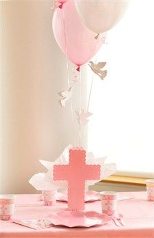 Baptism party decorations for girl.