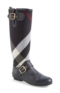 Burberry 'Birkback' Rain Boot (Women) at Nordstrom.com. Exploded checks lend signature élan to a stylish rain boot detailed with shining square buckles. $295.00
