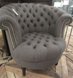 gray wool tub chair - love the nailhead detailing and tufting. would prefer it in velvet, though. Chair Bed, Bedroom Chair, Diy Chair, Used Chairs, Cool Chairs, Comfortable Office Chair, Bunk Beds With Stairs, Soft Seating, Eames Chairs