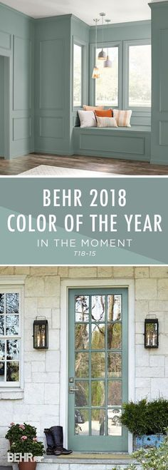 Introducing the BEHR 2018 Color of the Year: In The Moment. With undertones of blue, gray, and green, this calming paint color helps to create a relaxing space in your home, promoting mindfulness and introspection. Include this versatile paint color in interior and exterior DIY home makeover projects to turn your house into a tranquil sanctuary. by marci