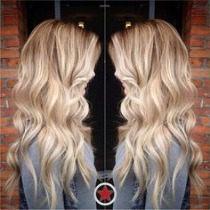 Loving this beachy style & colour #blonde #wavyhair