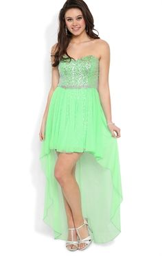 Strapless Sweetheart High Low Prom Dress with Sparkly Bodice and Skirt