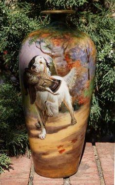 "Antique Jean Pouyat Limoges K Ryboc English Setter Dog Hunting Pheasant 13"" Vase   eBay"