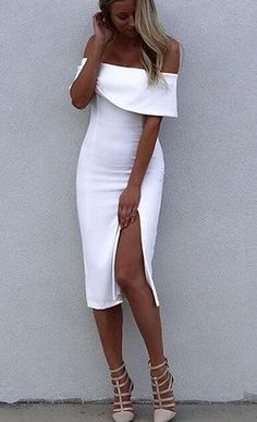 ☀ Make them stare ☀ White Off Shoulder Elegant Luxury Bodycon Sexy Cocktail Party Bandage Dress