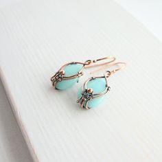 Copper drop earrings aquamarine earrings от wirefoxjewellery