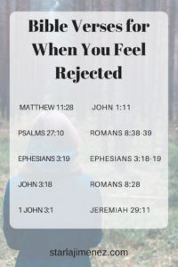 Feeling rejected? Try taking some time to look up these verses and mediate on them #powerofscripture #bible #rejection